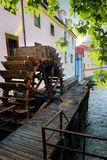 Prague wooden water mill Stock Images