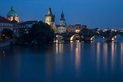Prague. ZECH REPUBLIC - AUGUST, 2016 : view of the Charles Bridge Karluv Most in the night stock images