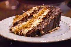 Praguer-Schokoladenkuchen auf einer Platte Stockbild