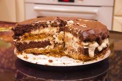 Praguer-Schokoladenkuchen auf einer Platte Stockfoto