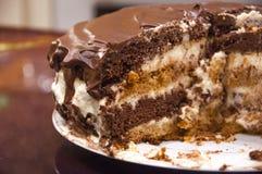 Praguer-Schokoladenkuchen auf einer Platte Lizenzfreie Stockfotos