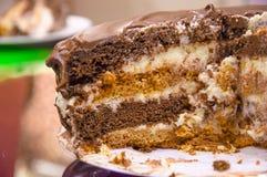 Praguer-Schokoladenkuchen auf einer Platte Lizenzfreies Stockbild