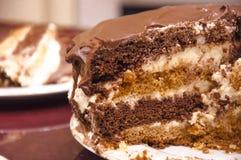 Praguer-Schokoladenkuchen auf einer Platte Stockfotos