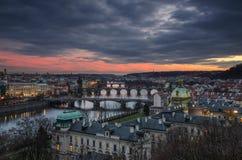 Pragues broar 1 Arkivbild