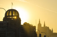 Pragues panorama at sunset, Czech Republic Stock Photography