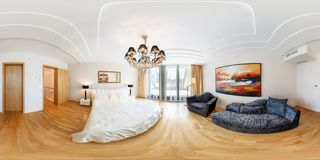 PRAHA, CZECH REPUBLIC - AUGUST 08, 2013: Modern loft apartment interior, bedroom, hall, ace panorama, full 360 panorama in royalty free stock images