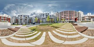 PRAHA, Czech Republic - JULY 22, 2014: Full 360 degree panorama in equirectangular spherical projection in stylish apartment stock image