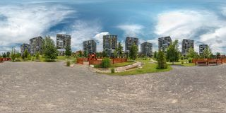 PRAHA, Czech Republic - JULY 21, 2014: Full 360 panorama in equirectangular spherical projection in stylish apartment complex royalty free stock photo
