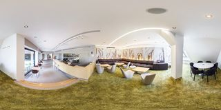 PRAHA, Czech Republic - JULY 22, 2014: Full 360 panorama in equirectangular spherical projection in stylish cafe complex Central royalty free stock photos