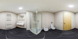 PRAHA , CZECH REPUBLIC - JULY 26, 2013: Full seamless 360 degree angle panorama Inside of the interior of white bathroom in stock photography