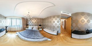 PRAHA , CZECH REPUBLIC - JULY 26, 2013: Modern loft apartment interior, bedroom, hall, full 360 degree panorama in equirectangular royalty free stock images