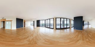 PRAHA, Czech Republic - JULY 21, 2014: Modern white empty loft apartment interior, living room, hall, panorama, full 360 panorama stock photography
