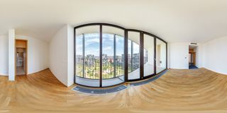 PRAHA, Czech Republic - JULY 21, 2014: Panorama of modern white empty loft apartment interior living hall room, full 360 seamless. Panorama in equirectangular royalty free stock photography