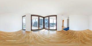 PRAHA, Czech Republic - JULY 21, 2014: Panorama of modern white empty loft apartment interior living hall room, full 360 seamless. Panorama in equirectangular royalty free stock photos