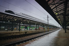 Praha, Czech republic - May 08, 2017: main train station in Prague city during first spring heavy rain Stock Photos