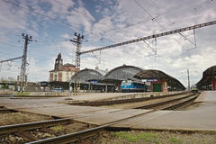 Praha, Czech republic - May 08, 2017: main train station in Prague on the 72nd anniversary of the end of the Second World War Royalty Free Stock Photography