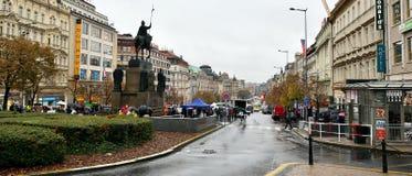 Praha, Czech republic - October 28, 2018 - rainy Vaclavske namesti square in day of centenary of the founding of the Czechoslovak. Ia stock image