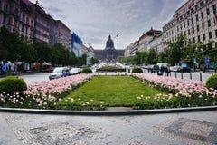 Praha, republika czech - Maj 08, 2017: Wenceslas kwadrat z różami na przedpolu i statui St Wenceslas z budynkiem N Obrazy Royalty Free
