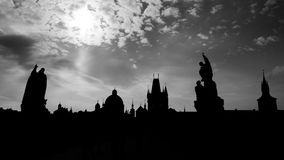 Praha silhouette. View from Charles Bridge Royalty Free Stock Photography