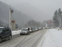 在Prahova区的交通堵塞 库存照片