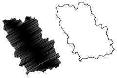 Prahova County administrativa uppdelningar av Rum?nien, Sud - illustrationen f?r vektorn f?r ?versikten f?r den Muntenia utveckli stock illustrationer