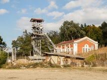 The lifting tower near the salt mines in Slanic - Salina Slanic Prahova -  in the town of Prahova in Romania. Stock Photos