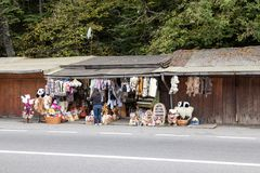 A roadside souvenir market located not far from the city of Brasov in Romania. Royalty Free Stock Photography