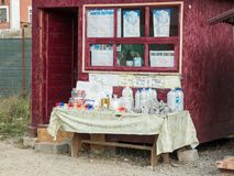 The roadside store sells salt and salt products in the town of Prahova in Romania. Royalty Free Stock Photos