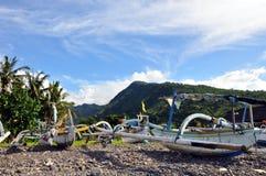 Prahus in amed Schacht Bali Stockbilder