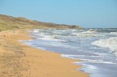 Praia abandonada do mar de Azov Imagem de Stock