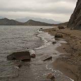 Praia abandonada no inverno Fotografia de Stock Royalty Free