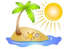 Praia abandonada Sun do console ilustração do vetor
