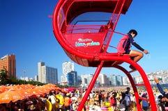 Praia aglomerada 2 de Haeundae Fotografia de Stock