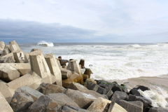 Praia agradável NJ do ponto de Oceano Atlântico Foto de Stock Royalty Free