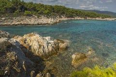 Praia alaranjada Kavourotripes, Chalkidiki, Sithonia, Macedônia central Fotos de Stock
