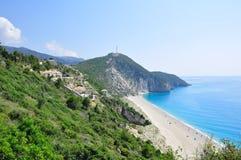 Praia azul bonita Fotografia de Stock