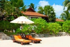 Praia bonita Cadeiras entre palmeiras na praia holida Imagens de Stock Royalty Free