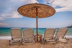 Praia bonita, Chalkidiki, Grécia Fotos de Stock Royalty Free
