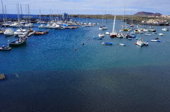 Praia bonita da opinião de olho de pássaro das Ilhas Canárias Fotografia de Stock