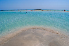A praia bonita do elafonisi, Creta, Grécia Foto de Stock