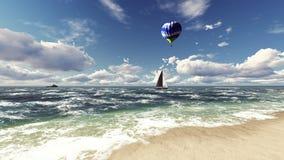 Praia bonita do mar no nascer do sol rendição 3d fotografia de stock royalty free