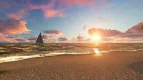 Praia bonita do mar no por do sol rendição 3d fotografia de stock