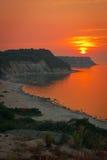 Praia bonita do por do sol do mar Fotografia de Stock