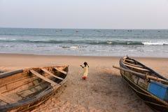 Praia bonita em Vishakhpatnam Fotografia de Stock