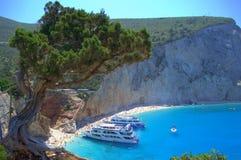 Praia bonita, Lefkada Grécia Imagem de Stock Royalty Free