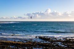 Praia bonita no por do sol com o kitesurf no fundo, Ilhas Canárias, Tenerife, Espanha - imagem foto de stock royalty free