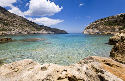 Praia bonita no Rodes, Greece Imagem de Stock Royalty Free