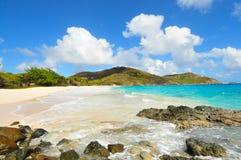Praia branca da areia Fotos de Stock Royalty Free