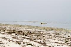 Praia branca da ilha da especiaria do Oceano Índico de Zanzibar Unguja, Tanzânia Foto de Stock Royalty Free
