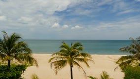 Praia branca exótica tropical da areia de Paradise lavada pelo mar calmo azul Costa de Sandy com as palmas de coco verdes sob o c vídeos de arquivo